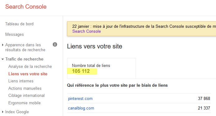 search console liens entrants