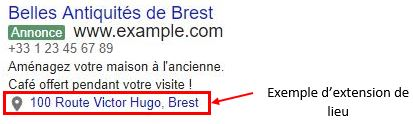 Exemple d'extension de lieu Adwords